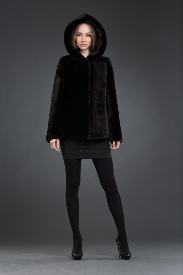 М-125 куртка с капюшоном 70см арт № 500-9109, куртка из мутона