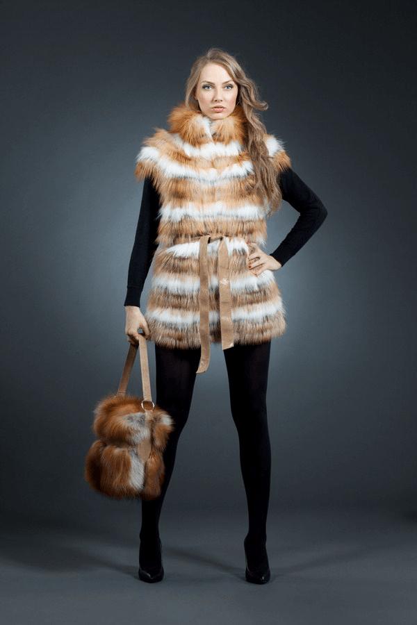 Марина жилет лиса арт № 700-2001 жилет из натурального меха лисы
