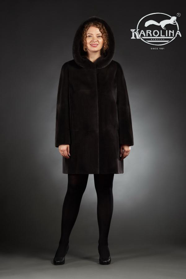 Шуба из нутрии куртка с капюшоном № 800 М-180 К
