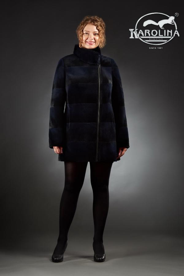 Шуба из нутрии куртка с воротником из норки № 800 М-105 В