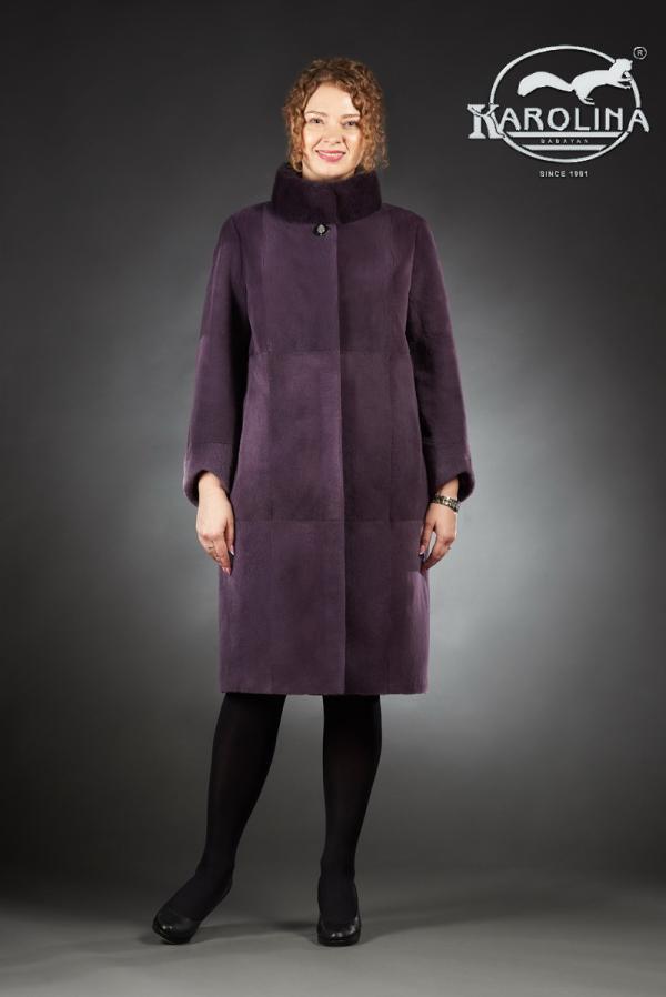 Шуба из нутрии пальто с воротником из норки № 800 Н-815 В