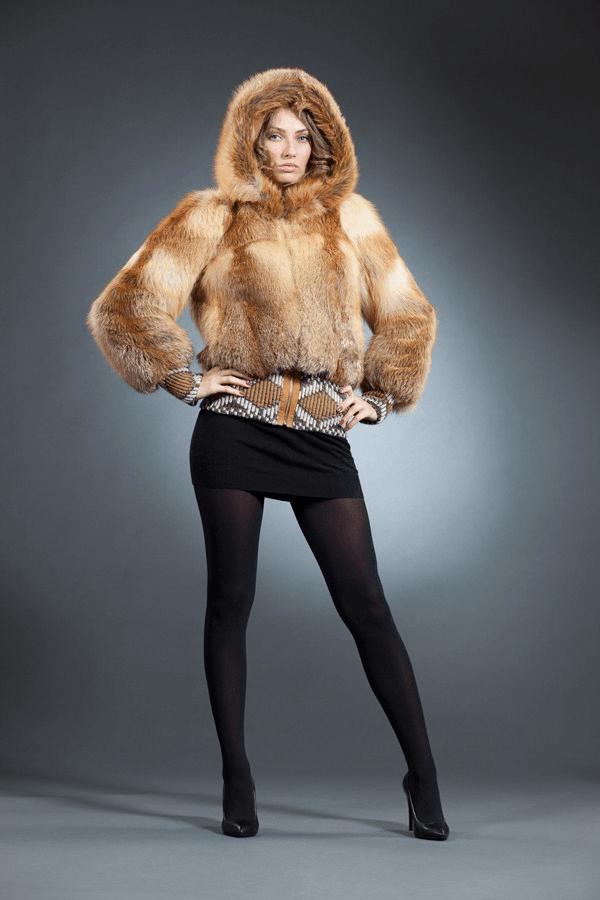 Подвяз трикотаж, рисунок, куртка лиса  арт № 300-202 меховое изделие из лисы огнёвки